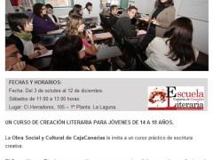 Cambio de fecha en el Curso de Creación Literaria para Jóvenes Escritores 2012