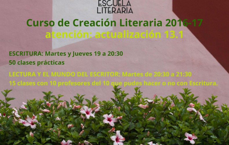 Actualización 13.1 del Curso de Creación Literaria 2016-17